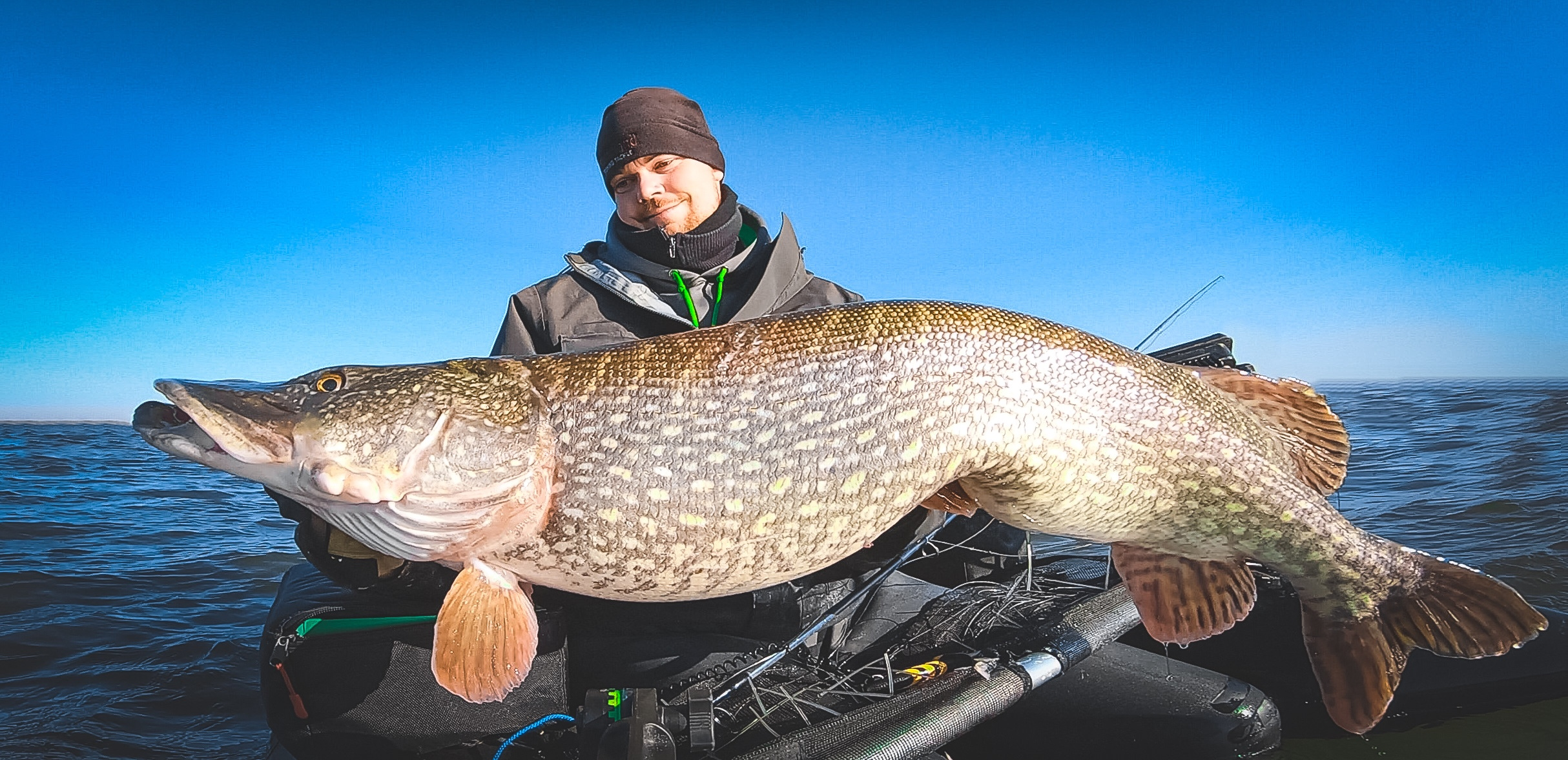 Giant Pike on the fly from the abu garcia beast bellyboat using the raymarine element 7 and navionics relief shading on a platinum+ map
