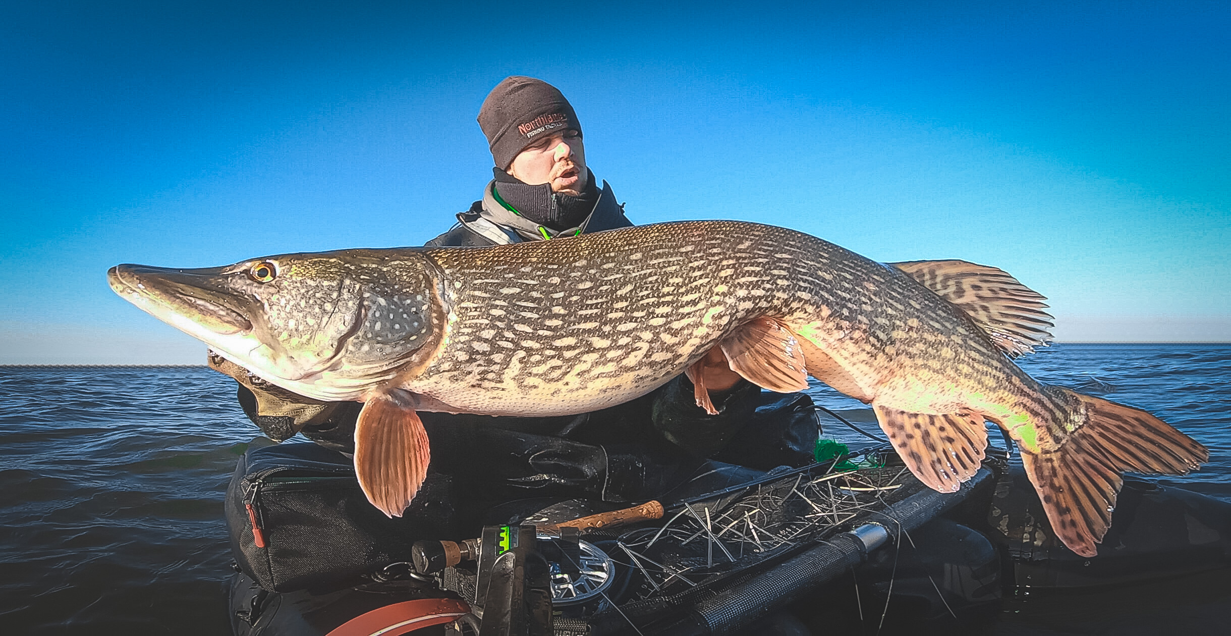giant pike on the fly with the abu garcia beast bellyboat and navionics relief shading