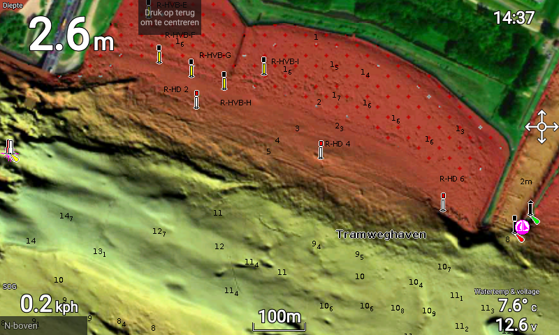 Navionics relief shading on a raymarine element 7 showing a shallow plateau